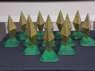SJV award trophies on a table