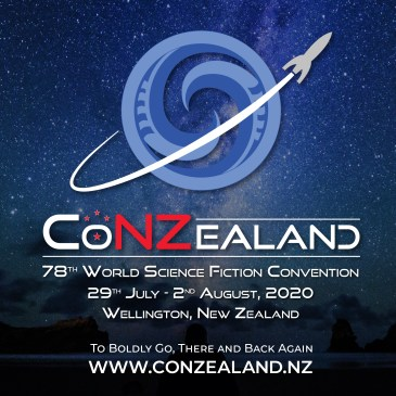 CoNZealand graphic, koru planet circled by spaceship, 78th World Science Convention, 29 July-2 August 2020 Wellington, New Zealand
