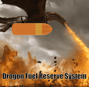 Dragon with large space shuttle fuel tank strapped to it's belly
