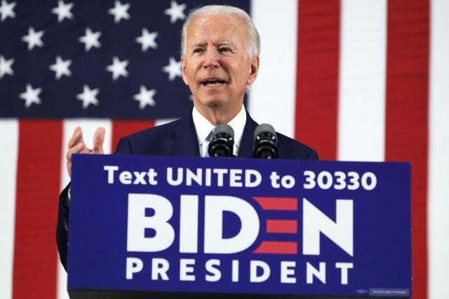 東部デラウェア州の選挙集会で演説するバイデン前副大統領=6月30日(ゲッティ=共同)