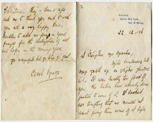 Letter from Cathal Brugha to Madge Daly