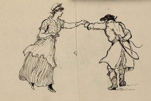 Sketch of two figures dancing