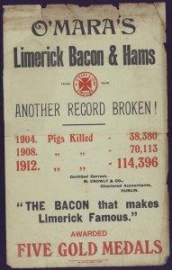 Print advertisement for O'Mara's Limerick Bacon and Hams