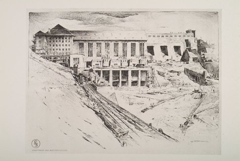 Lithograph of the construction of Ardnacrusha power station
