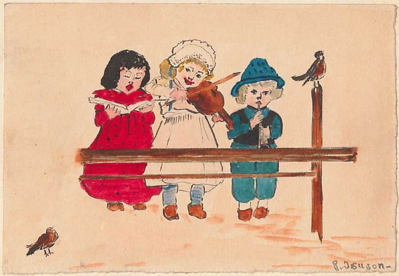 Drawing of three children singing