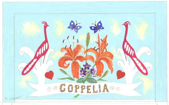 Backcloth designed by Rosemarie Cockayne for Coppelia, 1983 (N75/2/3/1/1/2/17)