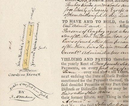 Lease of builiding ground to John Socksmith in Adare County with annotations and site map