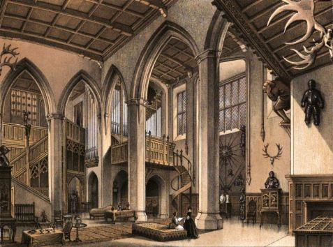 Coloured illustration of the gallery at Adare Manor from the Memorials of Adare Manor