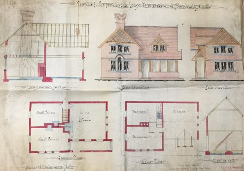 Coloured plans and sketches of the gate lodge for Shanbally Castle by Fredreick W. Higginbotham