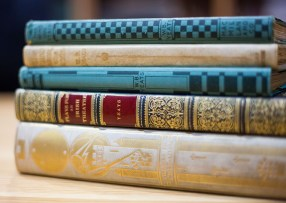 stack of five books by Yeats with ornamented spines