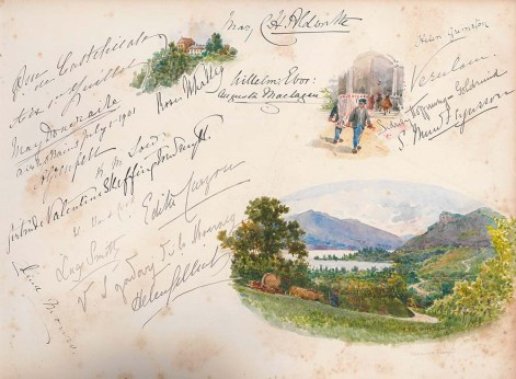 Page with signatures and three coloured illustrations from an album compiled by May, Countess of Limerick