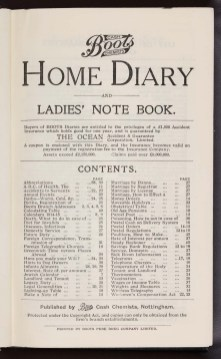P6/1769 p5: Table of Contents for Boots' 1914 'Home Diary and Ladies' Note Book'