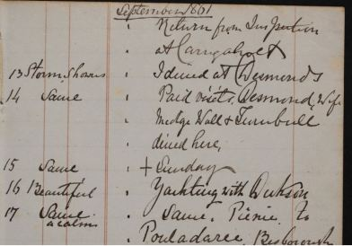 P1/22 p37: Blennerhassett's weather reports for September 1861, recorded in the margins beside his daily activities