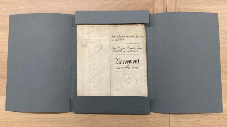 Archival documents are protected in acid-free 4-fold archival folders