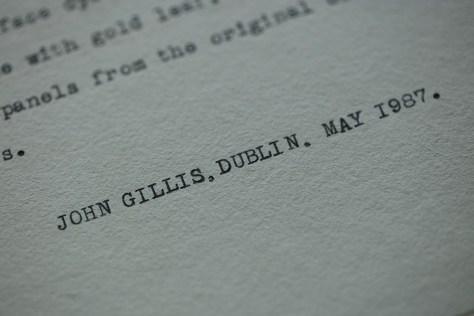'John Gillis, Dublin, May 1987.'