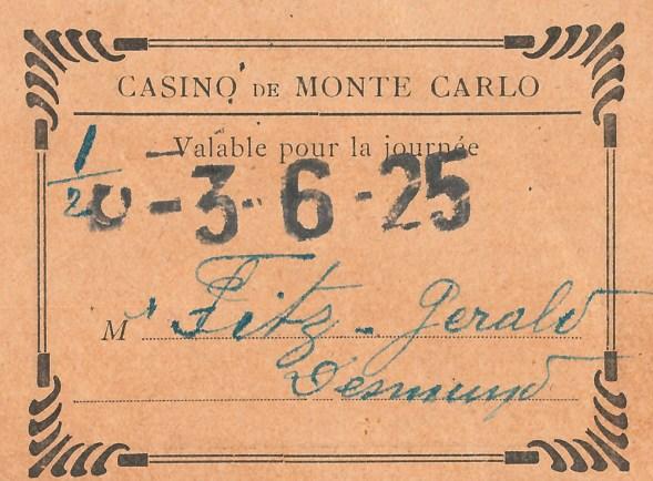 Monte Carlo Casino ticket, 1925 (P1/352 (2))