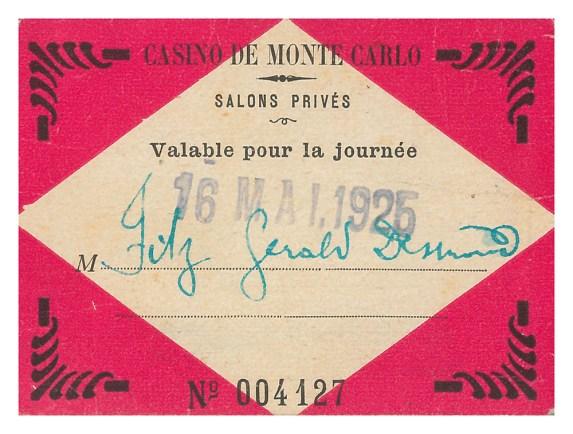 Monte Carlo Casino ticket, 1926 (P1/352 (3))