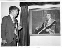 Ted Edwards with his portrait