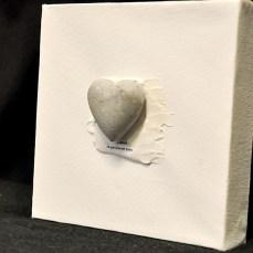 Doptavla med vitt hjärta i gips