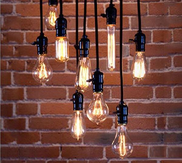 Edison Bulb Drop Lights  Black Wire  The Lighter Side