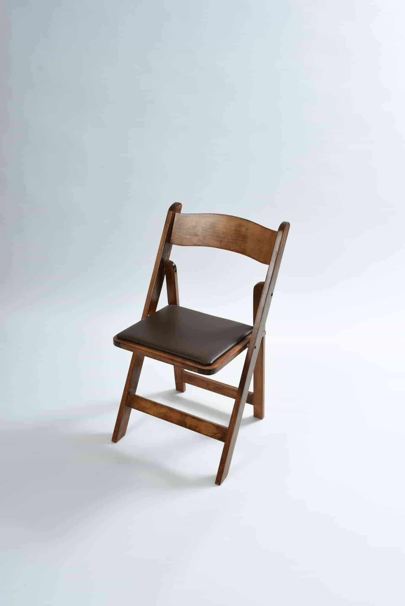 folding chair rental covers gladstone walnut  padded seat special event rentals