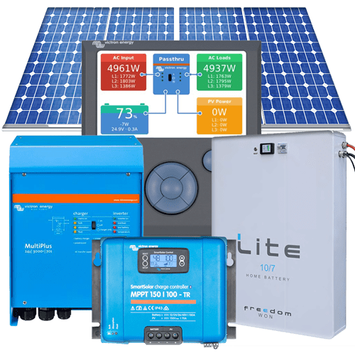 5kVA 2.970kWp-27kWhr per day with LiFePO4 11kWhrs 70% DOD battery grid-interactive hybrid solar system
