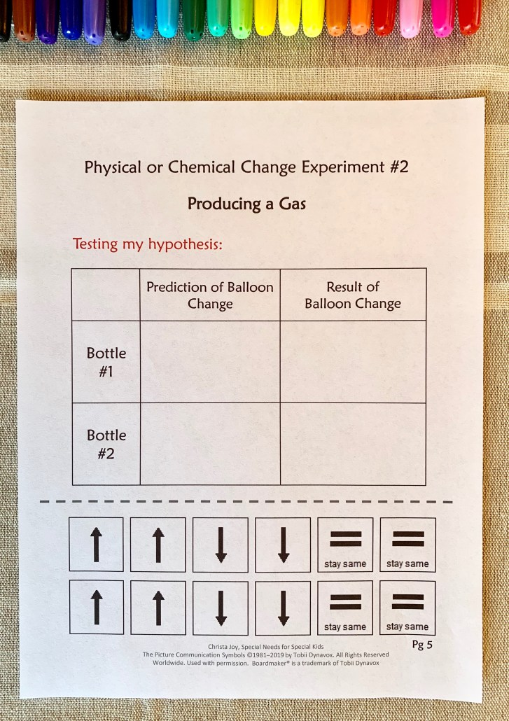 template for recording experiment results using the scientific method