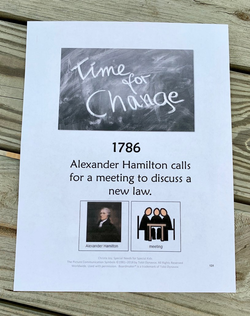 1786 Timeline card:  Alexander Hamilton calls for a meeting to discuss a new law.