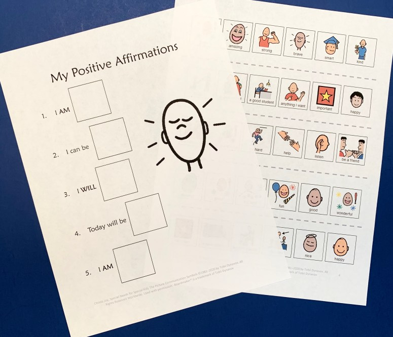 Positive affirmations for students writing prompt