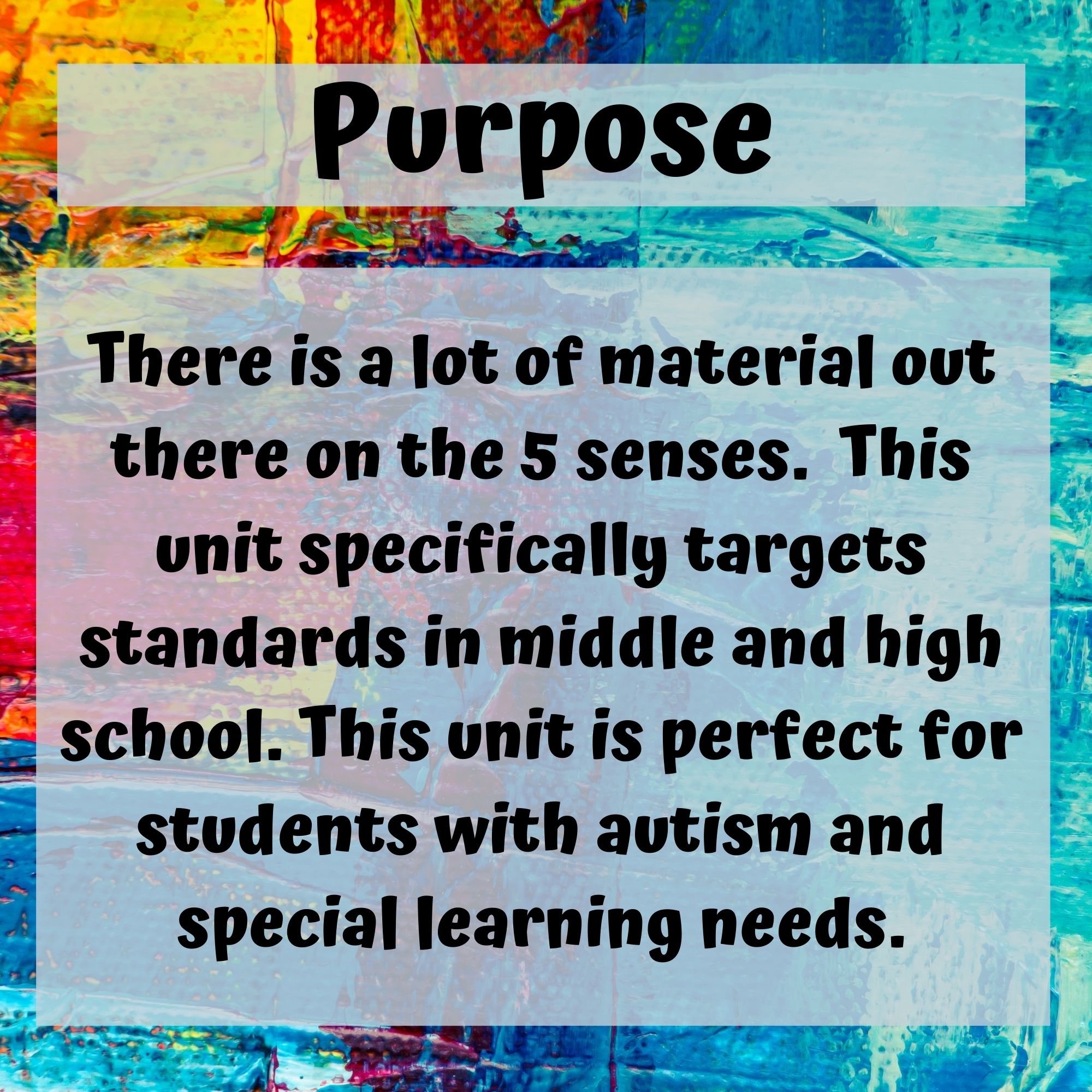 5 Senses Unit for Middle and High School Special Education with lesson plans - Special Needs for Special Kids