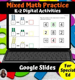Math Digital Worksheets K-2 Special Ed for Google Classroom   Distance  Learning - Special Needs for Special Kids [ 2000 x 2000 Pixel ]