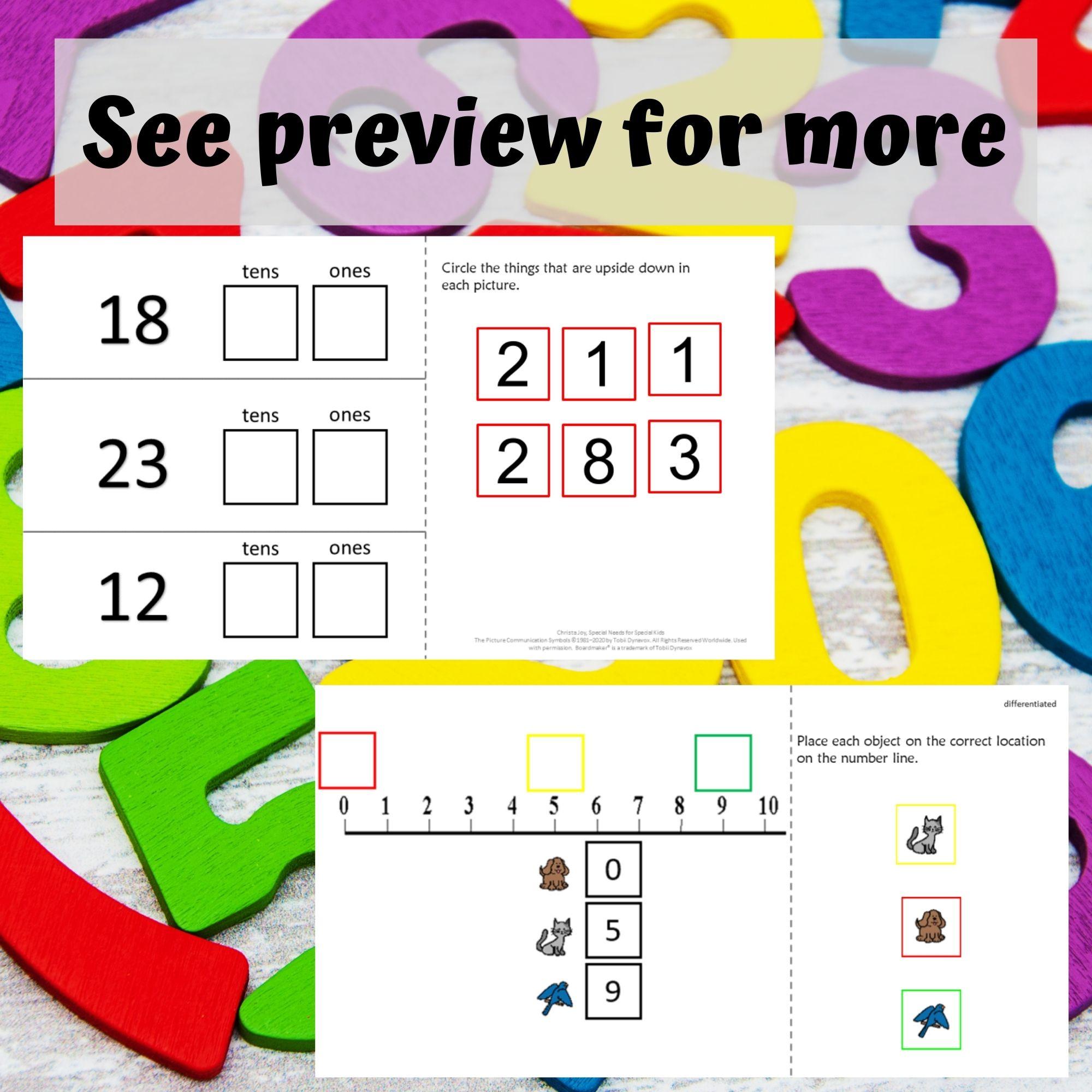 Math Digital Worksheets K 2 Special Ed For