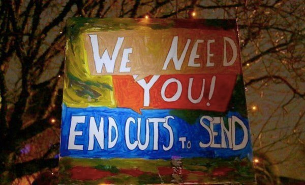 Image with banner: End SEND cuts