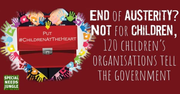 Man holding red box with hashtag children at the heart and words: End of austerity? Not for children, 120 children's organisations tell the government