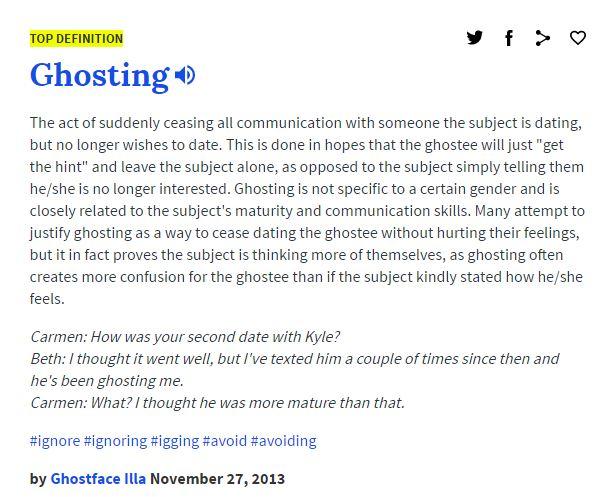 """Urban Dicitonary.com - """"Ghosting"""""""