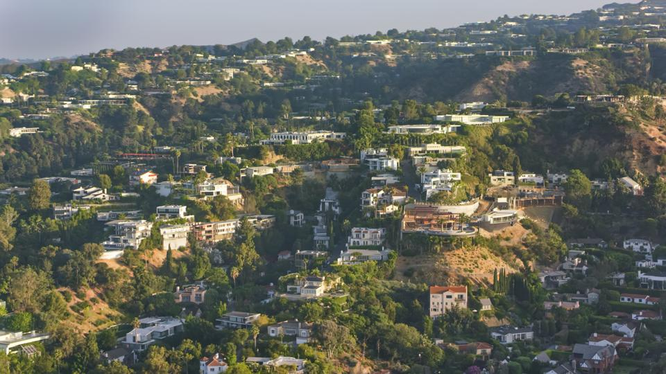 Aerial view of the houses on the Hollywood Hills in Los Angeles, California