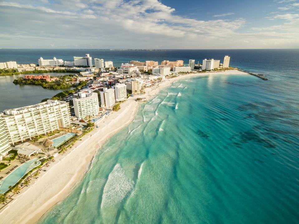 Aerial View of Cancun Beach