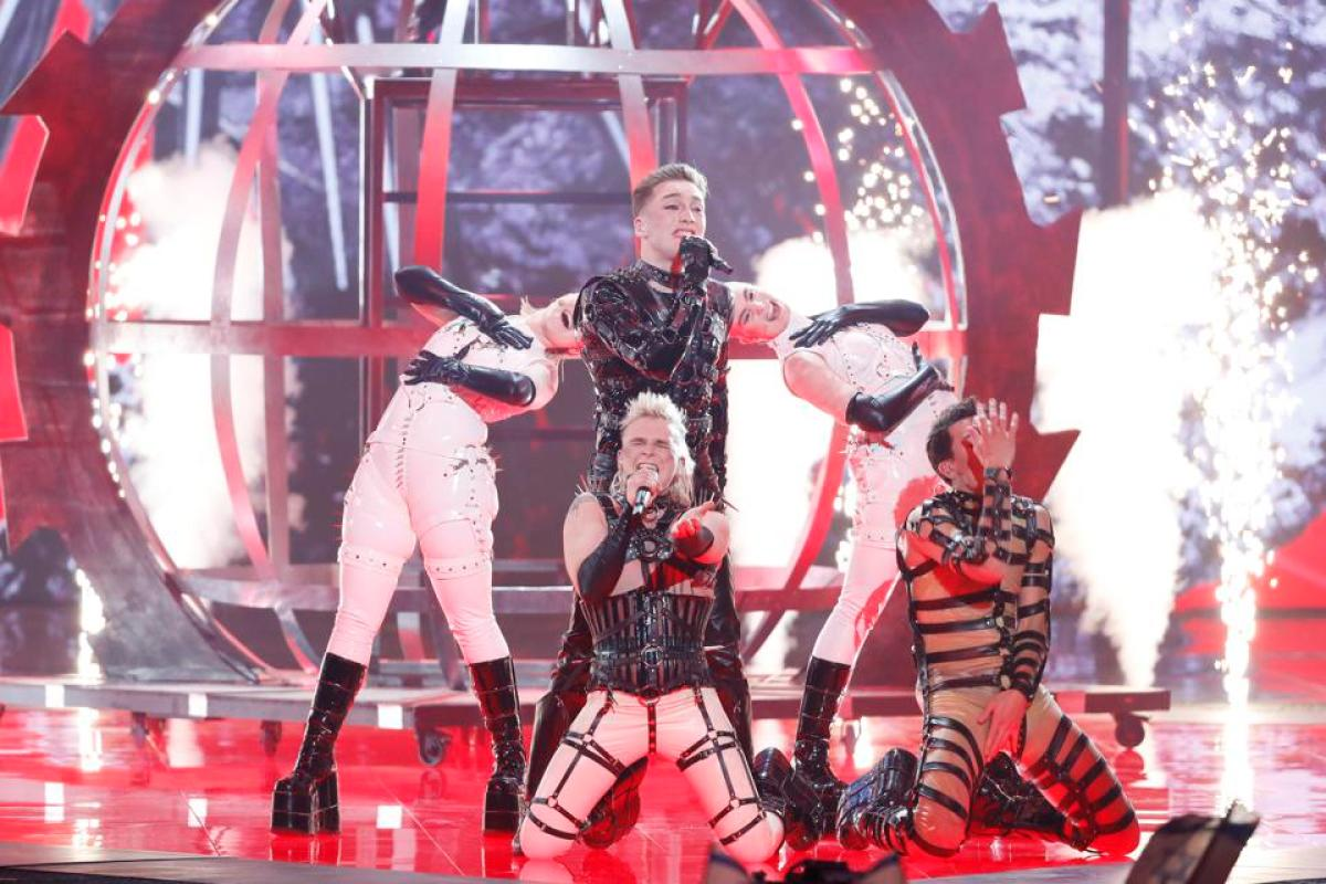 Hatari performing at the Eurovision Song Contest 2019