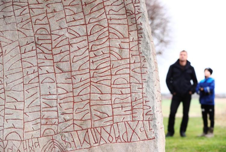 The Rök runestone in Sweden.