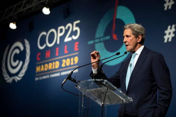 Former US Secretary of State John Kerry speaks at the COP25 Climate Conference.
