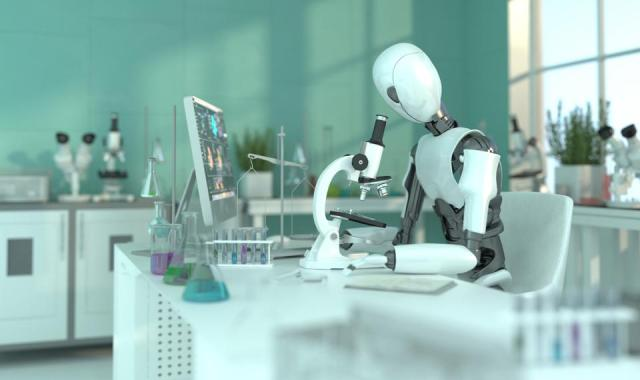 A humanoid robot in a laboratory works with a microscope. Scientific experiments. Future concept with smart robotics and artificial intelligence. 3D rendering.