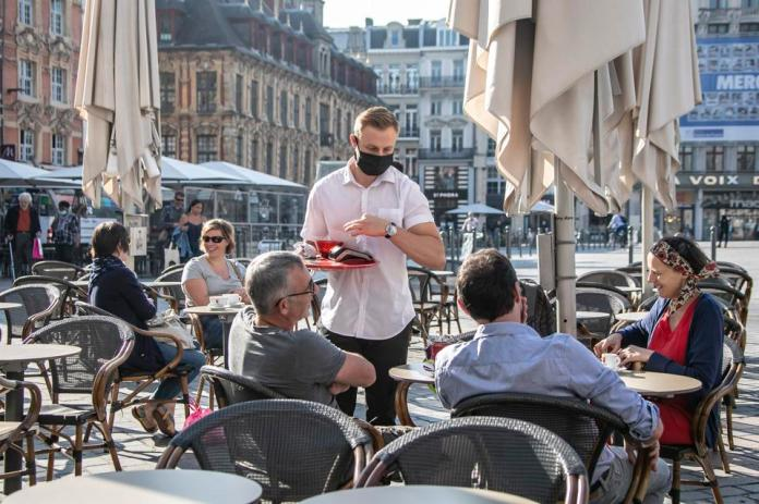 The people having coffee in Lille, northern France, on June 2, 2020.