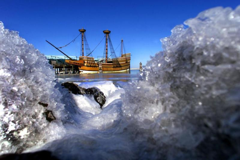 The Mayflower II In An Icy Plymouth Harbor