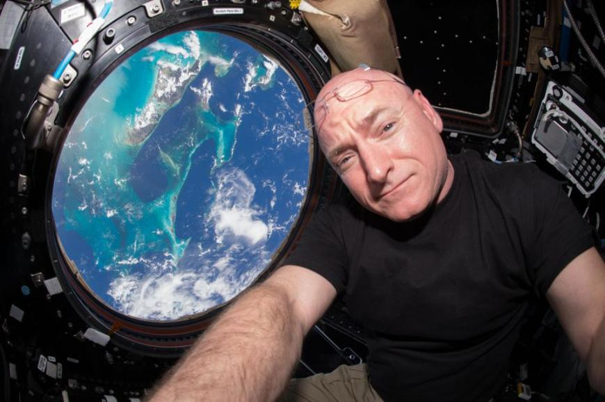 IN SPACE - JULY 12:  In this handout photo provided by NASA, Expedition 44 flight engineer and NASA astronaut Scott Kelly is seen inside the Cupola, a special module which provides a 360-degree viewing of the Earth and the International Space Station July 12, 2015 in space. Kelly is one of two crew members spending an entire year in space. (Photo by NASA via Getty Images)