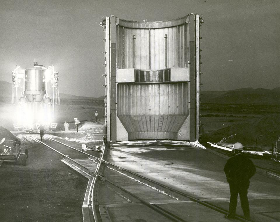 A nuclear-powered rocket engine, preparing for testing in 1967.