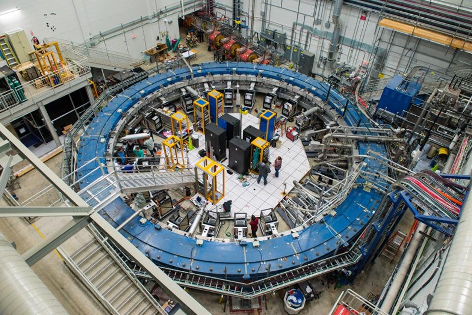 The Muon g-2 electromagnet at Fermilab, ready to receive a beam of muon particles.