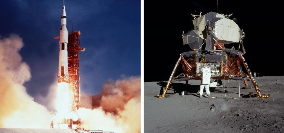 Apollo 11 launch; Lunar Module on the moon