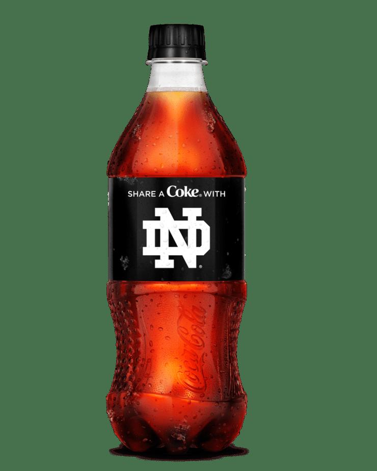 Coke Zero Sugar Notre Dame label