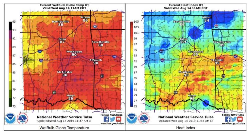 WGBT vs heat index