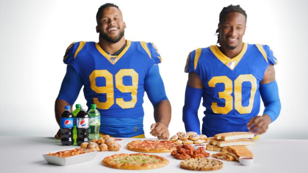 Aaron Donald and Todd Gurley as brand ambassadors for Pizza Hut.